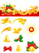 Christmas banner,   gold hand bells, holly leaves, Christmas