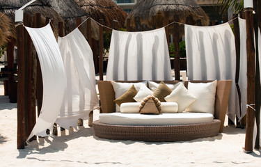 Luxury bed on the beach in Mexico