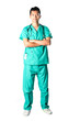 Chinese doctor with arms crossed in green scrubs.