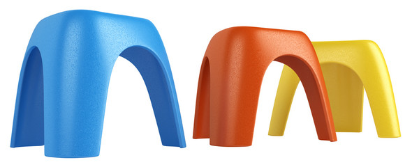 Three colourful modular stools