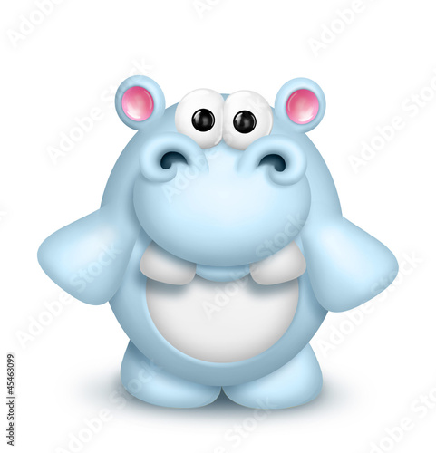 Whimsical Cute Cartoon Hippo