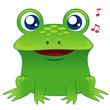 illustration of green frog singing