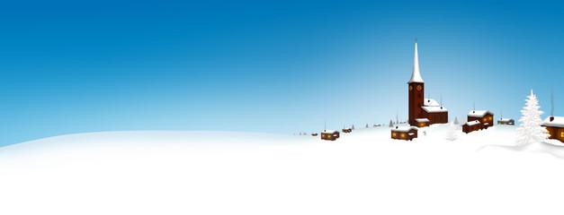 Winter, Panorama, Dorf, Bergdorf, Winterlandschaft, Banner, Eis