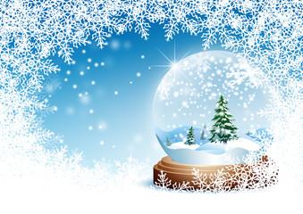 Winter, Grußkarte, Vorlage, Schneekugel, Blauer Himmel, Kristall