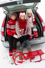 Winter, travel - family  ready for the travel for winter holiday