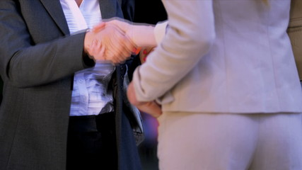 Females shaking hands on business