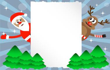 cartoon deer and Santa-Claus
