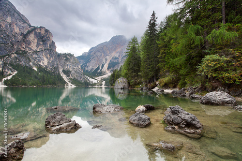 Lake - Lago di Braies in Dolomiti Mountains - Italy Europe