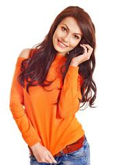 Woman wearing orange sweater.