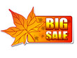 big sale autumn label with leaf.
