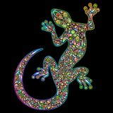 Fototapety Geko Lizard Psychedelic Design-Geco Lucertola Psichedelico