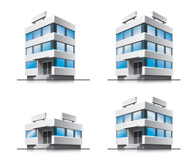 Four cartoon office vector buildings. EPS10 vector file.