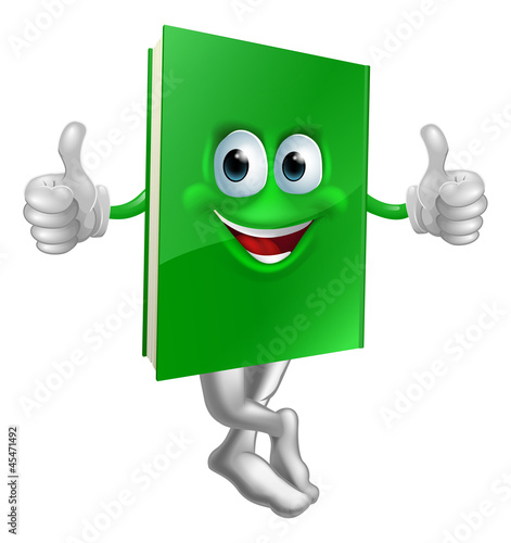 Cute thumbs up green book character