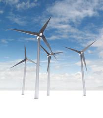 wind power energy concept on blue skyground