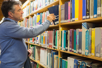 Man taking a book from the shelves