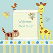 new baby announcement with  giraffe and cat