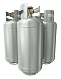 Three gas containers