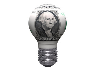 one dollar bulb isolated on white background
