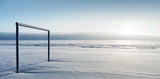 Empty football gate in winter