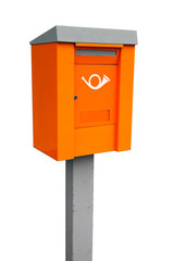 Orange European metal post box