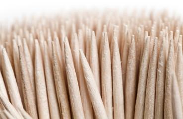 Macro shot of wooden toothpicks