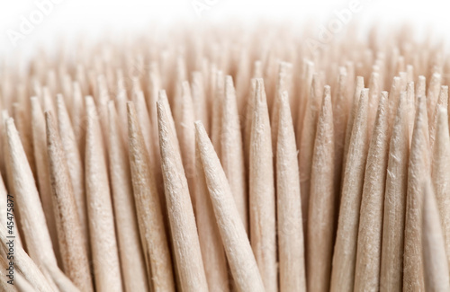 Macro shot of wooden toothpicks