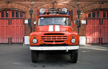 Classical russian fire engine are ready to departure