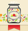 can with canned vegetables. food background vector