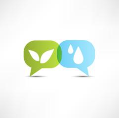 Eco. Water and vegetation. Symbol.