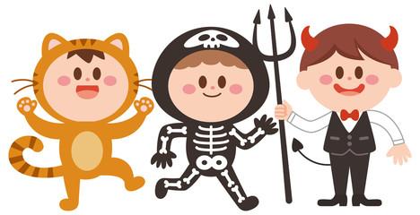 ハロウィン 仮装 猫 がい骨 悪魔 子供達 イラスト