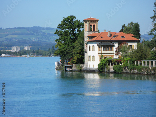 Old mansion in Oberhofen at the lake Thun. Switzerland