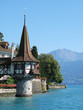 Roaman tower of the famous Oberfofen castle at the lake Thun, Sw