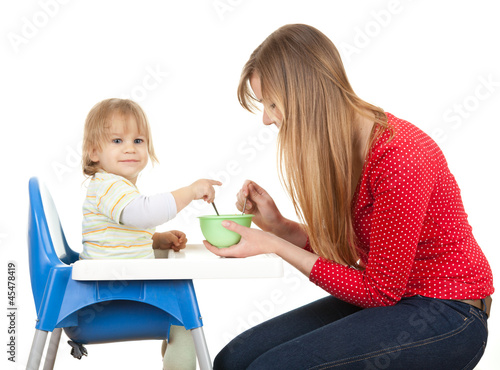 pointing little boy feeding by his mother