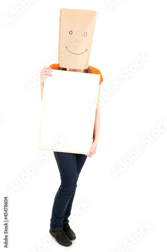 girl in smiling paper bag on head with blank card