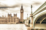 Fototapety The Big Ben, the House of Parliament and the Westminster Bridge