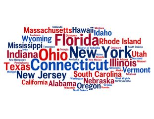 """UNITED STATES OF AMERICA"" Tag Cloud (swing states elections)"