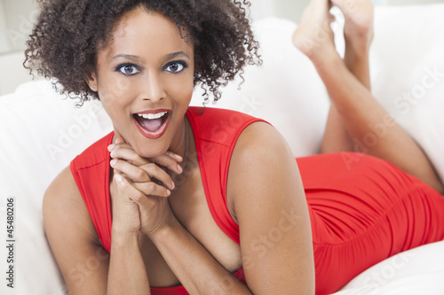 Happy Surprised Mixed Race African American Girl