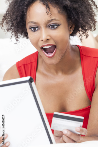 African American Girl Credit Card On Line Shopping