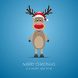 reindeer and santa claus blue background