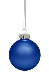 Blue christmas bauble isolated on white