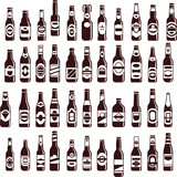 Beer bottles vector collection. Beer seamless backgroud