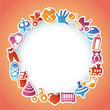 Vector frame with kid and toys stickers