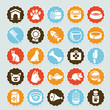 Set of vector stickers with pet icons
