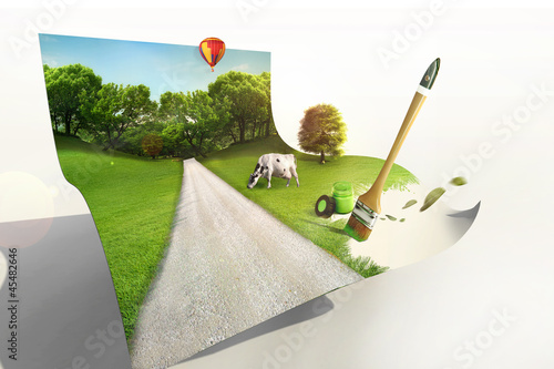 green eco concept country landscape