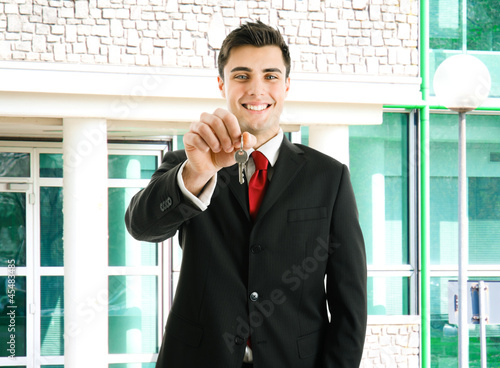 Agent giving you keys of your new property