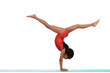 Young black child doing gymnastics front walkover