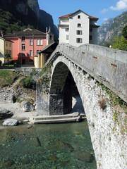 Ancient stone bridge in Bignasca, Southern Switzerland