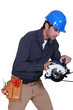 Tradesman using a circular saw
