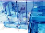 Biochemical analyzer at modern coo. Laboratory equipment. poster