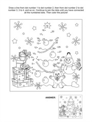 Dot-to-dot activity page for kids, Christmas or New Year themed